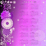 Floral calendar for 2015. Trendy abstract frame with flowers, balls and calendar for 2016, vector eps 10 Stock Images