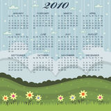 Floral calender for 2010. Calender for 2010 on flower landscape background stock illustration