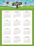 Floral calender for 2011. Calender for 2011 on flower landscape background stock illustration