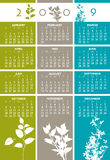 Floral Calender. A year 2009 calender in floral design with three different colors Stock Images