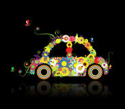 Floral car shape on black for your design Stock Images
