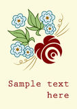 Floral card. Vector floral card: stylized rose and forget-me-nots with copy-space for your text Royalty Free Stock Photo