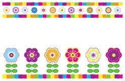 Floral Card. Bright folk art style card vector illustration