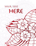 Floral Card. Tropical flower on detailed henna background with room for text Stock Image