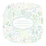 Floral card. Colorful square card with floral ornament Stock Photo