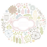 Floral card. Colorful round card with floral ornament Stock Images