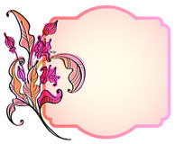 Floral card. Floral pink card, bright illustration Stock Photo