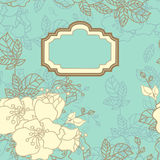 Floral card. Rectangular vintage seamless floral card Royalty Free Stock Photos