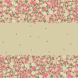 Floral card. Rectangular floral card with space for text in center Stock Photos