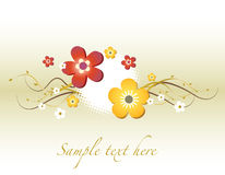 Floral Card. Decorative Card With Colorful Flowers Royalty Free Stock Photos
