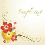 Floral Card. Decorative Card With Colorful Flowers Stock Photo