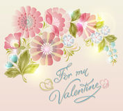 Floral  card with beautiful spring pink flowers. Royalty Free Stock Images