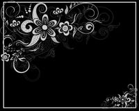 Floral card in black and white Royalty Free Stock Photos
