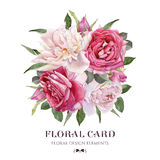 Floral card. Bouquet of watercolor roses and white peonies. Illustration royalty free illustration