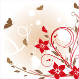 Floral card with butterflies Stock Image