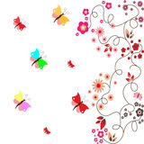 Floral card with butterflies Stock Images