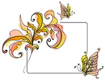 Floral card with butterfly. Bright illustration Stock Image
