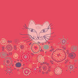 Floral card with cat Royalty Free Stock Images