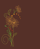 Floral card with chrysanthemums Stock Photos