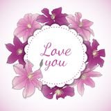 Floral card with Clematis Flowers. Vector Illustration