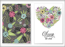 Floral card design, flowers and leaf doodle elements. Cute  Stock Photo
