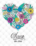 Floral card design, flowers and leaf doodle elements. Cute heart shape made of flowers and leaves. Vector decorative invitation with volumetric leather Stock Photos