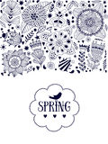 Floral card design, flowers and leaf doodle elements. Illustration made of flowers and herbs. Vector decorative invitation. Spring Royalty Free Stock Photos