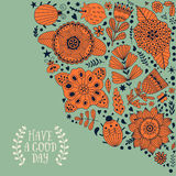 Floral card design, flowers and leaf doodle elements. Illustration made of flowers and herbs. Stock Images