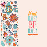 Floral card design, flowers and leaf doodle elements. Royalty Free Stock Photography