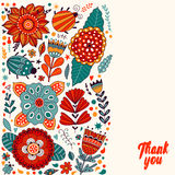 Floral card design, flowers and leaf doodle elements. Royalty Free Stock Photos