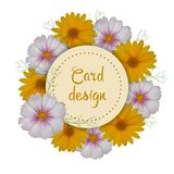 Floral card design. Round invitation. Vector illustration Royalty Free Stock Images