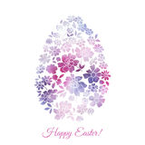 Floral watercolor vector card for Easter day Stock Photo