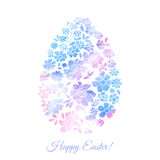 Floral card for Easter day. Happy Easter greeting vector illustration