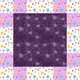 Floral card. Elegant bandana with hand drawn flowers in dot frame. Stock Photos