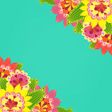 Floral card. Fancy bright colored flowers on a turquoise backgro Royalty Free Stock Photo