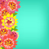 Floral card. Fancy bright colored flowers on a turquoise Royalty Free Stock Image
