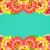 Floral card. Fancy bright colored flowers on a turquoise Royalty Free Stock Photo
