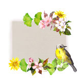 Floral card - flowers and pretty bird at paper texture. Watercolor pattern. Floral card with flowers and pretty bird at paper texture. Watercolor pattern stock image