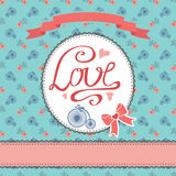 Floral  card with flowers,retro bicycle. Inscription Love Royalty Free Stock Image