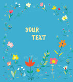Floral card with frame - simple design Stock Images