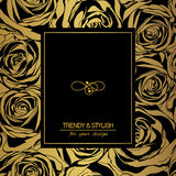 Floral card on gold with black roses and place for text. vector illustration