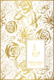 Floral card on gold with lace ornament and place for text. Stock Photo