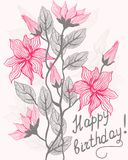 Floral card happy birthday in vector. Floral card with inscription happy birthday Stock Photo