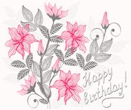 Floral card happy birthday in vector. Floral card with inscription happy birthday Stock Images