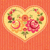 Floral card with heart Royalty Free Stock Photography