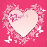 Floral card with heart frame on pink background with  flowers an Stock Photo