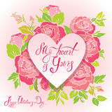 Floral card with heart frame on pink roses flowers background an Stock Image