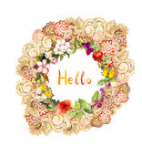 Floral card - Hello, ornate wreath. Meadow flowers, butterflies. Watercolor Royalty Free Stock Photo