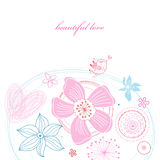 Floral card with love bird Stock Images