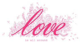 Floral card with Love word Royalty Free Stock Photo